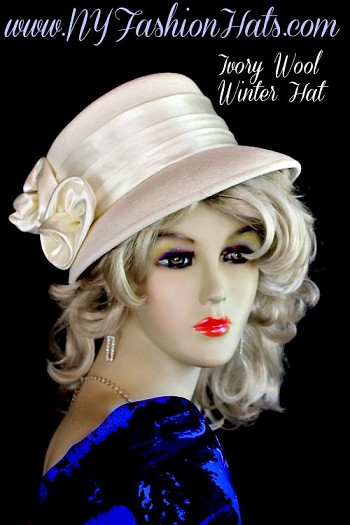 Women's Ivory Designer Winter Wool Fashion Hat, With Satin Rosettes.  A Perfect Hat, For Casual Or Dress. By www.NYFashionHats.Com
