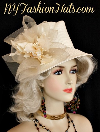 Women's Formal Orchid Flower Ivory Straw Braid Fashion Hat. We Specialize In Ladies Hats, Church Hats, Hats For Special Occasion, Hats For Wedding Guests, Melbourne Cup Hats, And Royal Ascot Hats. Custom Made By NY Fashion Hats, www.nyfashionhats.com