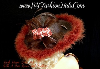 Women's Dark Chocolate Brown Designer Hat, With A Brown Bow, Victorian Style Silk Copper Brown And White Roses, And Copper Brown Feathers.  This Special Occasion Hat, Is Suited For Winter, Spring, Summer Or Fall.  A Perfect Dress Hat, For Church, Temple, Weddings, Formal Parties, Horse Races, And The Kentucky Derby.  Custom Made And Designed By www.NYFashionHats.Com