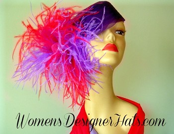 Ladies Purple Cocktail Pillbox Hat Headiece With Red And Purple Feathers, And Bowing. This Wedding Fashion Hat Is Custom Made And Designed By Women's Designer Hats, www.womensdesignerhats.com