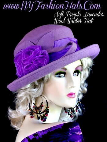 Ladies Lavender Soft Purple Designer Winter Wool Hat Fashion Hats EN9