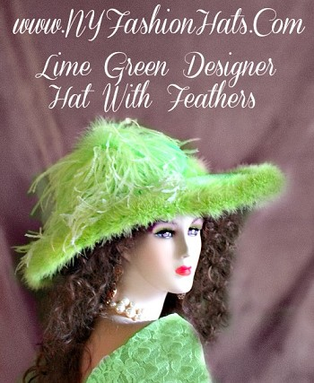 Ladies Women's Lime Green Wide Brim Designer Kentucky Derby Hat, With Feathers.  This Special Occasion Hat, Is Available In Many Hat And Feather Colors.  This Dress Hat, Is Suited For Church, Weddings, Formals, Parties, Holidays, Horse Racing Events, Horse Races, And Easter.  This Elegant Hat, Is Appropriate For Winter, Spring, Summer Or Fall.  Custom Made And Designed By NY Fashion Hats -  www.NYFashionHats.Com