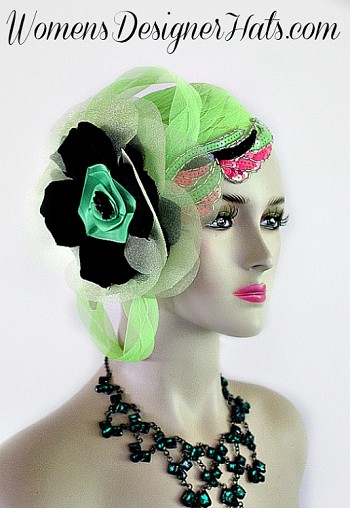 "Lime Green Pillbox Cocktail Hat For Women With A Large Bow And Flower. Hand Made 1920's Flapper Era Designer Fashion Hat - Trimmed With A Large Lime Green Bow, Accented With Handmade Black Silk And Soft Celery Lime Organza Vintage Millinery Flower.  A Large Handmade Lime Green Satin Rosette Is Places Within The Flowers, Accented With A Black Sequin Rosette. This Fashion Hat Comes With A Hat Pin To Hold This Wedding Fascinator In Place. Two Beautiful Art Deco Lime Green, Black, And Hot Pink Sequin Beaded Appliques Are Placed On This Headpiece. Measurements: 22.5"" Crown Size - Fits Most Women. New Condition - Custom Made Couture Fashion Hat - This Hat Can Be Worn In Different Positions. Can Be Worn More Toward The Back Of The Head Or As A Cloche Fashion Hat. This Designer Custom Made Hat Is A Show Stopper. This Dress Hat Is Custom Made And Designed By Women's Designer Hats, www.womens.designerhats.com"