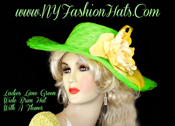 Ladies Lime Green Wide Brim Designer Hat With A Rose And Feathers.  Customize This Fashion Hat, With Your Choice Of Hat Colors, Rose Colors, And Feather Colors.  A Perfect Dress Hat, For Church, A Wedding, Formals, The Kentucky Derby And Special Occasion.  By www.NYFashionHats.Com