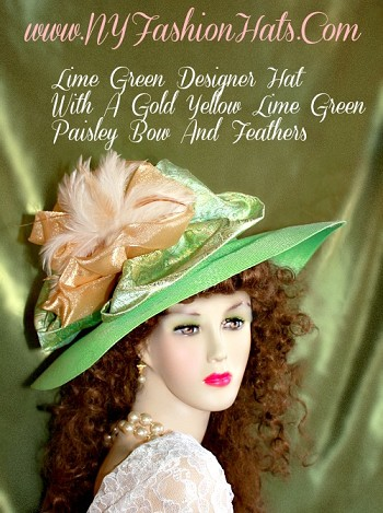 Kentucky Derby Hats Lime Green Paisley Designer Hat NY Fashion Hats