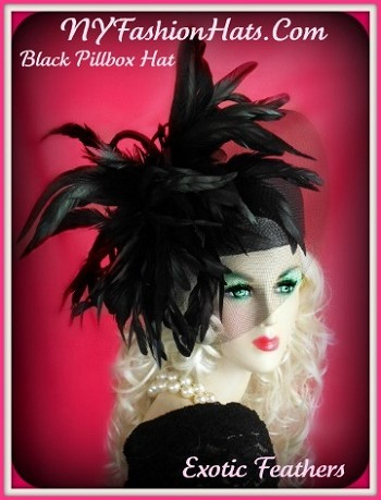 Ladies Black Fashion Pillbox Hat With Feathers Designer Hats CCVB