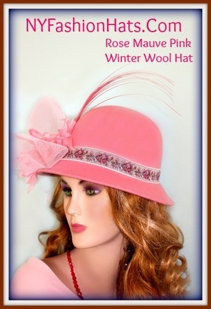 Ladies Mauve Pink Winter Cloche Wool Designer Hat.  This Beautiful Hat, Is Suited For Church, Wedings, Formals, Holidays, And Cold Weather Wear.  Custom Made And Designed By NY Fashion Hats Millinery, www.nyfashionhats.com