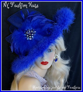 Royal Blue Wide Brim Designer Hat, With Royal Blue Feathers, By www.NYFashionHats.Com