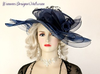 Kentucky Derby Hats Navy Blue Crin Straw Women's Designer Dress Hat