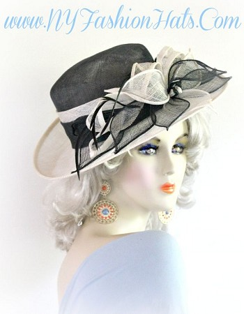 Black And Ivory, Sinamay Straw Designer Fashion, Lift Up Brim Hat For Women, By www.NYFashionHats.Com