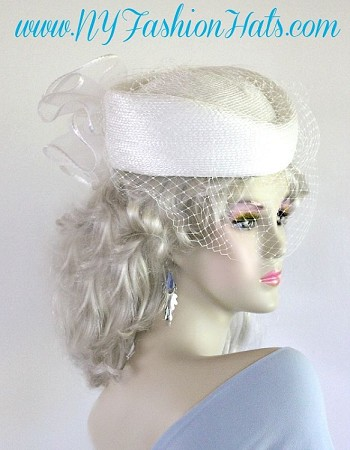 White Pillbox Church Bridal Wedding Hat Formal Ladies Veil Hats 8UYG