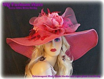 Raspberry Pink Wide Brim Hat With Feathers And Flowers By www.NYFashionHats.Com