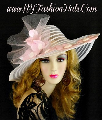 White Wide Brim Hat With Pink Patent Leather Flowers Ladies Hats 221