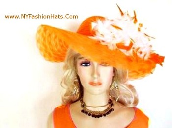 Orange White Wide Brim Designer Hat For Women By www.nyfashionhats.com