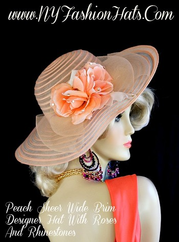 Peach Sheer Wide Brim Designer Fashion Hat, With Peach Roses, A bow, And Rhinestones.  A Perfect Special Occasion Hat, For A Wedding, Church, Easter, Spring, And The Kentucky Derby.  By www.NYFashionHats.Com