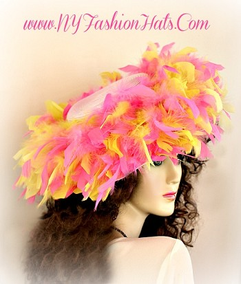 Pink Designer Kentucky Derby Hat, With Pink And Yellow Feathers.  Customize This Wedding Hat, With Custom Hat And Feather Color Choices.  Choose Between A Pink Or Red Dress Hat.  We Sell Church Hats, Designer Hats For Women, Kentucky Derby Hats, Belmont Stakes Hats, Preakness Hats, Hats For Weddings, Tea Party Hats, Holiday Hats, Easter Hats, And Special Occasion Hats.  Custom Made And Designed By NY Fashion Hats Millinery Women's Headwear Apparel, http://www.nyfashionhats.com