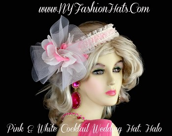 Ladies Pink White Cocktail Hat, Wedding Fascinator, Bridal Headpiece