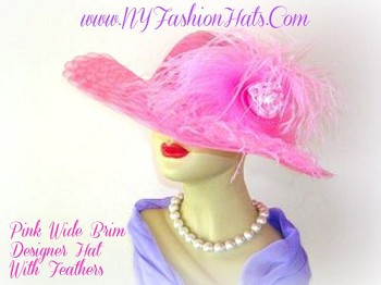 Hats Pink Wide Brim Wedding Fashion Ladies Hat With Feathers 7TLBZ