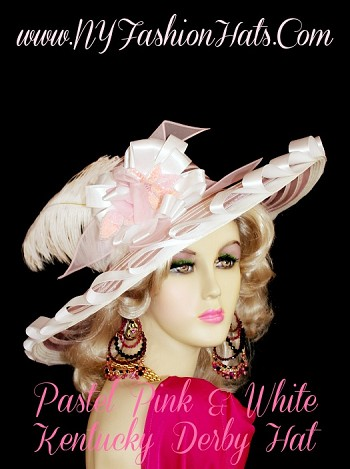 Women's Pink And Ivory Sheer Wide Brim Designer Kentucky Derby Hat, With A White Ribbon Satin Bow, Pink Organza Bowing, A Pastel Pink Sequin And Glass Bead Flower.  A Long White Ostrich Feathers, Gives The Hat A Fashion Flair.  We Specialize In Kentucky Derby Hats For Women, Dress Hats For Women Ladies Fashion Hats, Designer Hats For Weddings, Church Hats, Formal Hats, Kentucky Derby Hats, Hats For Horse Races, Preakness Hats, Belmont Stakes Hats, Wide Brim Hats, Satin Hats, Cocktail Hats, Wedding Fascinators, And Special Occasion Hats.  Custom Made And Designed By NY Fashion Hats Millinery Headwear. http://www.NYFashionhats.com