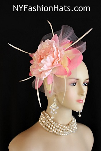 Women's Pink Sinamay Straw Large Flower Feather Bow Fashion Designer Haute Couture Hat Headpiece Wedding Fascinator Hair Accessory. A Large Pastel Pink Horsehair Crinoline Bow Is Placed On A Simulated Pink Sinamay Straw Round Base, Accented With A Large Vintage Ivory Yellow And Pink Handmade Silk Flower, Embellished With White Goose Biot Feathers. This Formal Art Deco Styled 1920's Style Flapper Hat Wedding Headpiece Can Be Worn In Different Positions.   This ladies bespoke couture formal designer wedding fascinator hat is appropriate to wear for horse races, The Kentucky Derby, The Dubai World Cup, The Royal Ascot, The Melbourne Cup, Belmont Stakes, The Preakness Stakes horse racing, Church, weddings, and special occasion. This lovely Spring and Summer fascinator is also suited for mother of the bride or a bride. This Unique Hat Will Make A Fashion Statement. This Special Occasion Hat Is Custom Made And Designed By NY Fashion Hats Millinery, http://www.nyfashionhats.com