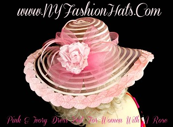 Pink And Ivory Wide Brim Formal Designer Hat For Women.  This Beautiful Pink And Ivory Ladies Sheer Wide Brimmed Special Occasion Hat, Is Trimmed With A Sheer Pink Netting Bow, Adorned With A Beautiful Pink Silk Rose, Accented With Glass Rhinestones.   Pastel Pink Velvet Leaves Wrap Around The Entire Wide Brim  Of This Fashion Hat.  Pink Feathers Placed Around The Bow, Give This Hat Such Style.  We Specialize In Designer Hats For Women, Kentucky Derby Hats For Women, Dress Hats For Women Ladies Fashion Hats, Designer Hats For Weddings, Church Hats, Tea Party Hats, Ladies Formal Hats, Kentucky Oaks Hats, Preakness Hats, Belmont Stakes Hats, And Special Occasion Hats For Women.  Custom Made And Designed By NY Fashion Hats Millinery Headwear.  http://www.nyfashionhats.com