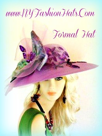 Lilac Purple Wide Brim Designer Hat With A Large Bow And Purple Sequin Applique By www.nyfashionhats.com