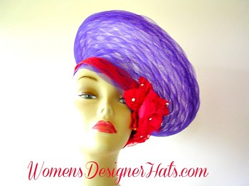 Dramatic Crownless Purple And Red Haute Couture High Fashion Designer Hat. Customize This Formal Hat With Crystal Rhinestones, Choose Hat Color, Band Color, And Rose Color. This Ladies Dress Hat Is Custom Made And Designed By Women's Designer Hats.com, www.womensdesignerhats.com