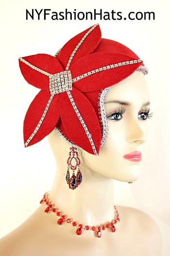 Women's Art Deco 1920's Flapper Style Winter Wool Red Cocktail Hat Wedding Fascinator