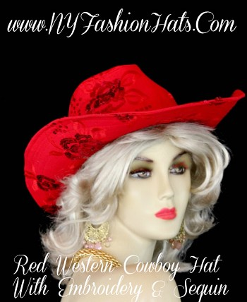 Ladies Women's Beautiful Red Western Cowboy Dress Hat With Sequin And Embroidery, For Special Occasion, Casual Wear, Equestrian Events, And Formals.  By www.NYFashionHats.Com