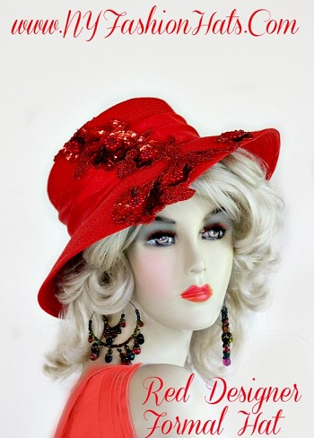 Ladies Red Braid Designer Dress Kentucky Derby Hat, With A Red Satin Band, And Red Sequin Along Part Of The Brim And Crown Of This Hat.  This Special Occasion Hat, Is Suited For Church, A Wedding, Formals, Parties, The Kentucky Derby, Horse Races, And A Tea Party.  By www.NYFashionHats.Com