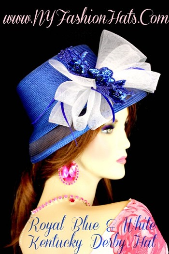 Royal Blue White Formal Wedding Kentucky Derby Hat NY Fashion Hats