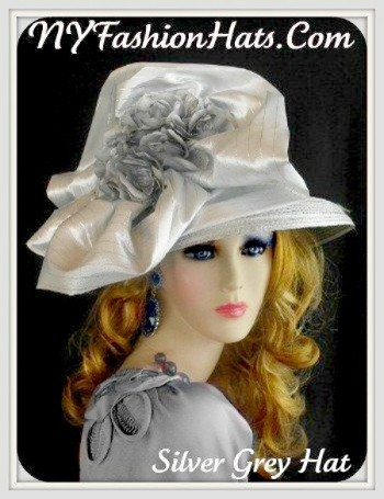 Silver Grey, Designer Fashion Hat For Women, With Flowers By www.NYFashionHats.Com