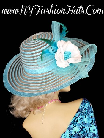 Ladies Turquoise Blue And White Sheer Wide Brim Designer Hat.  This Kentucky Derby Hat, Is Trimmed With A Large White Silk Flower, Accented With A Turquoise Blue Bow, Adorned With Turquoise Blue Satin Rosettes.  We Sell Church Hats, Designer Hats For Women, Kentucky Derby Hats, Belmont Stakes Hats, Preakness Hats, Hats For Weddings, Tea Party Hats, Holiday Hats, Easter Hats, And Special Occasion Hats.  Custom Made And Designed By NY Fashion Hats Millinery Women's Headwear Apparel, http://www.nyfashionhats.com