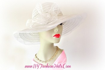 White wide brim, formal, dressy hat for Church, weddings, and special occasions, by www.NYFashionHats.Com