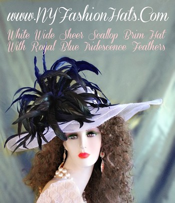 White Kentucky Derby Hats With Royal Blue Feathers NY Fashion Hats