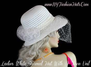 Ladies White Polyester Light Weight Designer Hat, With An Organza Bow, And Dotted Face Veil. We Sell Church Hats, Designer Hats For Women, Kentucky Derby Hats, Dress Hats For Women, Ladies Formal Hats, Belmont Stakes Hats, Preakness Hats, Saratoga Horse Racing Hats, Hats For Weddings, Tea Party Hats, Holiday Hats, Easter Hats, And Special Occasion Hats.  Custom Made And Designed By NY Fashion Hats Millinery Women's Headwear Apparel, http://www.nyfashionhats.com