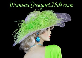 Ladies White Sheer Scallop Brim Designer Fashion Hat For The Kentucky Derby And Special Occasion. This Custom Designed Women's Dress Hat Is Trimmed With Lime Green Feathers On One Side. Choose From A Large Array Of Both Custom Hat And Feather Color Choices.  This Hat Can Be Completely Customized To Mach Your Wardrobe. Hat Colors Include: Black Hats, Ivory Hats, Vanilla Ivory Hats, Navy Blue Hats, Purple Hats, Red Hats, White Hats, Dark Chocolate Brown Hats, Soft Pink Hats, Orange Hats, Turquoise Blue Hats, Yellow Hats, Kelly Green Hats, And Lavender Or Light Purple Hats.  This Women's Hat Is Suited For Parties, Weddings, Holidays, Formals, The Kentucky Derby, The Kentucky Oaks Race, The Belmont Stakes, The Preakness, Saratoga, The Royal Ascot, Horse Races, And Special Occasions. This Church Hat Is Custom Made And Designed By WomensDesignerHats.com.  We Specialize In Designer Hats For Women, Hats For Weddings, Haute Couture Hats For Women, High Fashion Hats, Hats For Brides, Kentucky Derby Hats, Formal Hats For Women, Church Hats, Hats For Holidays, And Special Occasion Hats