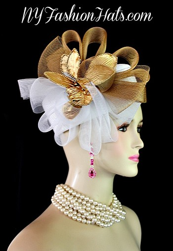 Ladies White Bronze Metallic Gold Pillbox Wedding Hat NY Fashion Hats ATY2