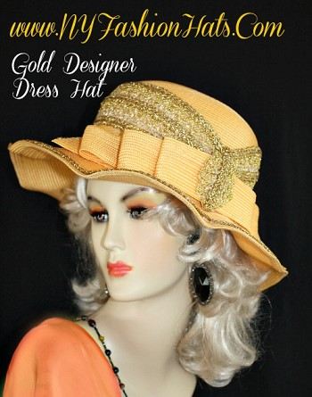 Ladies Antique Yellow Gold Designer Cloche Style Hat, With Metallic Gold Embellishments.  This Formal Hat, Is Suited For Winter, Spring, Summer Or Fall.  A Perfect Hat, For Church, A Wedding, Parties, Garden Tea Parties, Holidays, Horse Races, The Kentucky Derby, And Special Occasion.  By www.NYFashionHats.Com
