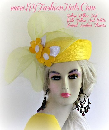 Ladies Women's Lemon Yellow Designer Pillbox Fashion Hat, With Bright Yellow And White Patent Leather Flowers.  By www.NYFashionHats.Com
